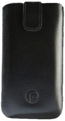 Original Favory Etui Tasche fuer / Alcatel One Touch 992D (Dual-Sim) / Leder Etui Handytasche Ledertasche Schutzhuelle Case Huelle *Speziell - Lasche mit Rueckzugfunktion* In Schwarz