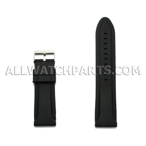30Mm Black Silicone Rubber Watch Strap front-585887