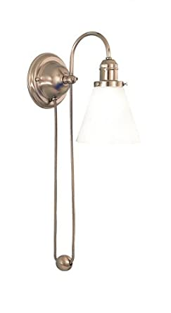 Hudson Valley Lighting 3121-SN-341 Rise and Fall 1-Light Pendant, Satin Nickel Finish with White Glass