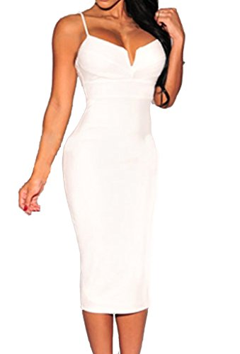 ZKESS Women's Sleeveless Plunging V Neck Cocktail Bodycon Dress S Size White