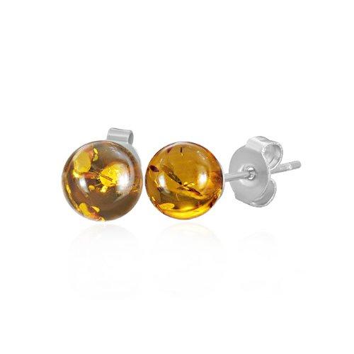 Bling Jewelry Amber Gemstone Ball Stud Earrings