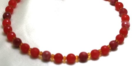 Ruby Necklace 10mm Quartz Beads Beaded Necklace 17