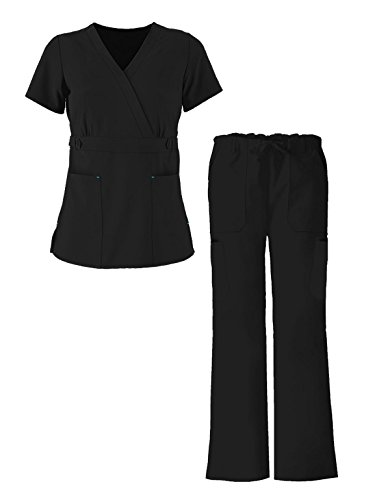 G Med Women's Ultra Soft Missy 2 Pockets Top & Pants Fashion Scrub Set(SET-MED,BLKA3-L) (Mesh Side Scrubs compare prices)