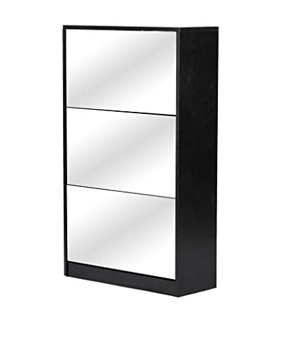 Baxton Studio Albany Wood Shoe Storage Cabinet with Mirror, Black