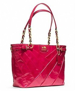 Coach Madison Maggie Diagonal Pleated Patent Leather Chain Tote Bag in Punch Pink F21300 $428