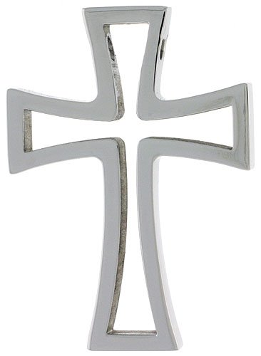 Stainless Steel Cut Out Cross Pendant 1 1/2 in. tall, w/ 30 inch Chain