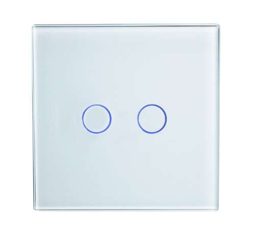 Retrotouch RTS2040W Stunning Innovative Designer Range Wireless 2-Gang 2-Way Touch and Remote Light Switch, White Glass