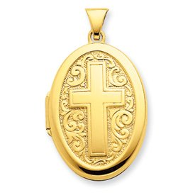 Gold-plated Sterling Silver Oval Cross Locket - JewelryWeb