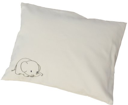 Certified Organic Hypoallergenic Toddler Pillow with Pillowcase 12x16 Inches (Embroidered Elephant) - For Toddlers Over Age One