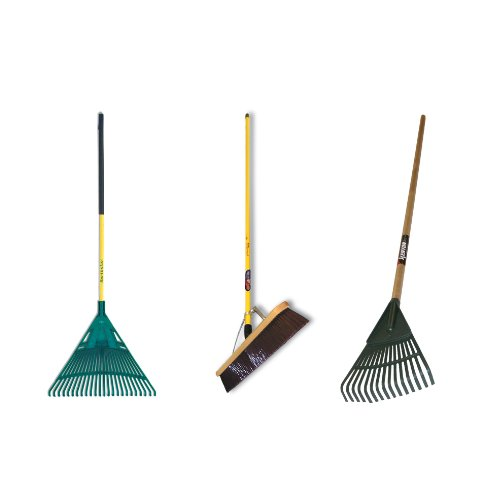 Midwest MWC-0002 3-Piece Homeowners Outdoor Cleanup Tool Kit With Poly Leaf Rake, Poly Shrub Rake & 24-Inch Push Broom