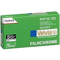 Fujifilm Fujichrome Velvia 50 Color Slide Film ISO 50, 120mm, 5 Roll Pro Pack