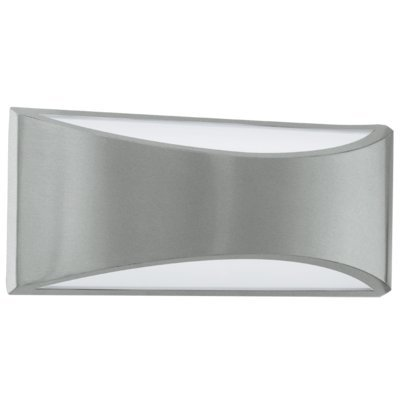 """Eglo Lighting 91769A Volpino - 11.38"""" 12W 1 Led Outdoor Wall Sconce, Silver Finish With White Glass"""