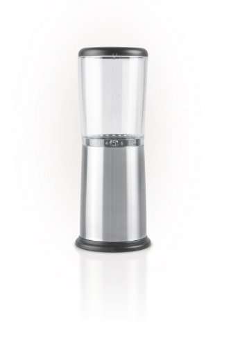 AdHoc Schuhbecks Manual Spice Mill Stainless Steel/Acrylic with Ceramic Grinding Mechanism, Height 16 cm (H. Nr. AS02)