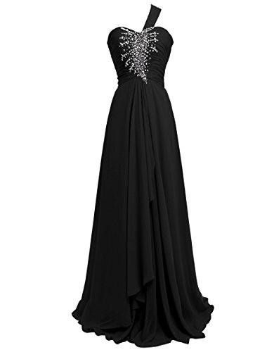 KAY&LAYLA Women's One Shoulder Beaded Gown Long Chiffon Gown