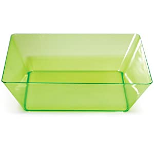 Creative Converting Square Plastic Serving Bowl, 11-Inch, Translucent Green by Creative Converting