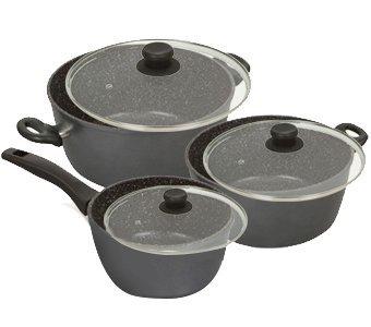 Stoneline - Pfoa Free Nonstick Stone Cookware - 6 Piece Pots And Lids Set