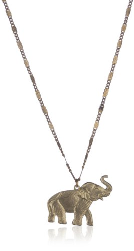 Vanessa Mooney Brass Elephant Charm on Flattened Brass Chain Long Necklace