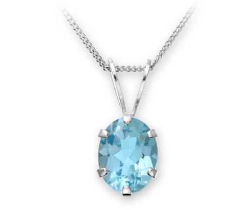 925 Sterling Silver Pendant & Chain with Blue Topaz 2.15 Carat - 15mm*7mm - 45cm