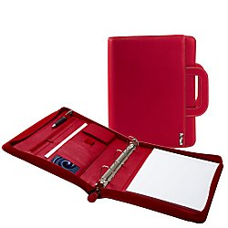 Executive Padfolio with Removable 3-Ring Binder and Letter Size Writing Pad, Red Collection -Writing Pad -Zippered - Retractable Handle for Easy Travel