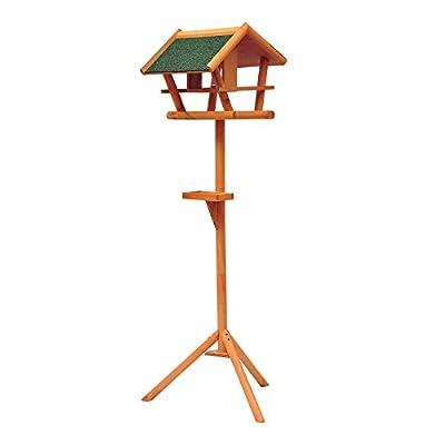 PawHut Bird Stand Feeder Table Feeding Station Wooden Garden Wood Coop Parrot Stand 173cm High Built-in Feeder