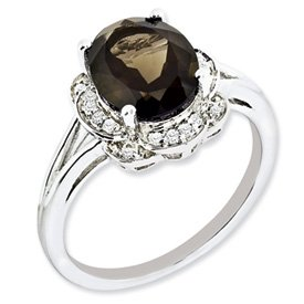 Genuine IceCarats Designer Jewelry Gift Sterling Silver Diamond & Smokey Quartz Ring Size 6.00