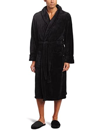 Joseph Abboud Men's Fleece Robe with Slipper Set, Black, One Size