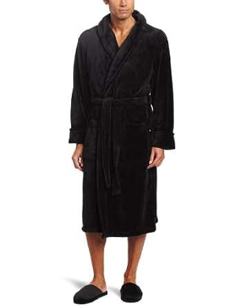 Joseph Abboud Men's Fleece Robe with Slipper Set, Black, One Size