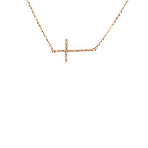 apop nyc Cubic Zirconia 14k Rose Gold Vermeil Horizontal Cross Necklace 16 inch