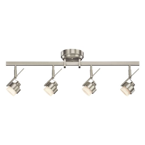 Kichler Lighting 10326NI 4-Light LED Energy Star Fixed Rail Directional Light, Brushed Nickel with Satin-Etched Glass
