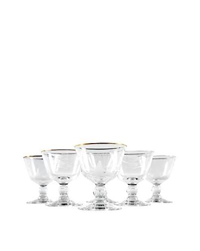 Set of 6 Vintage Gold Rim Port Glasses, Clear