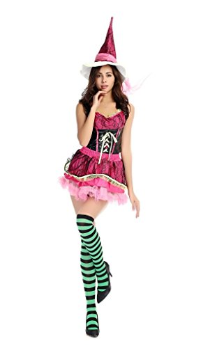 Monssaree Women's Adult One Size Costume Dress Magic Witch Cosplay Set