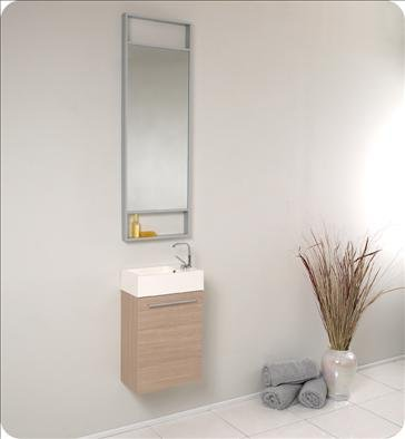 Fresca Pulito Small Light Wood Modern Bathroom Vanity w/ Tall Mirror