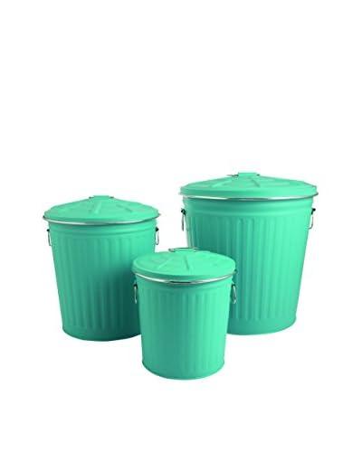 Villa d' Este Tivoli Huis vuilnisbak Set van 3 Tin turquoise