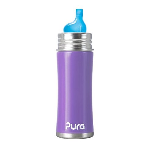 Pura Kiki Stainless Sippy Bottle Stainless Steel with XL Sipper Spout, 11 Ounce, Lavender, 6 Months+