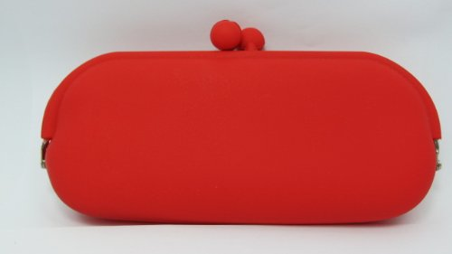 Silicone Paper Money Soft Purse Wallet Cosmetic Bag Sunglasses Case - Electric Red