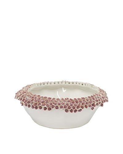 Three Hands White and Pink Ceramic Planter