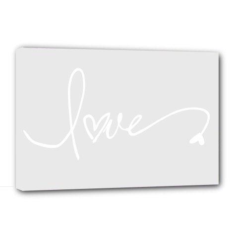 Framed Canvas Print Love (10''Width X 8'' Height Gray Background) Cute Wall Art front-564459