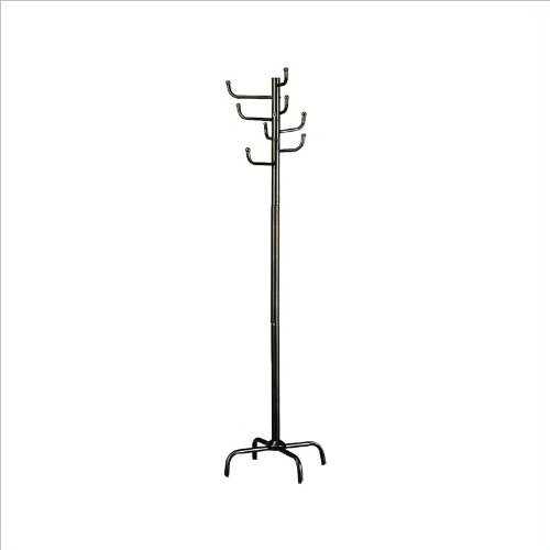 Modern Style Black Finish Metal Eight Hook Coat Hat Rack front-348091