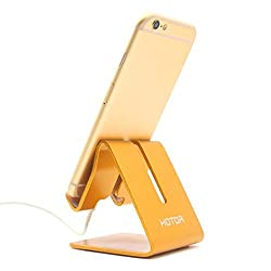 HOTOR Solid Aluminum Desk Desktop Stand for iPhone 6 6 plus 4 4s 5 5s 5c iPad 2/3 air mini/Samsung Galaxy S3/5 HTC ONE M7 Blackberry Tablet Tab Google Nexus Lumia and other Smartphone, Gold