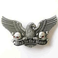 Bad to the Bone Biker Eagle Skulls Belt Buckle