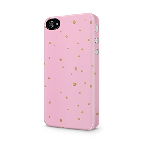 Pink Golden Splatter Polka Dots Apple iPhone 4 / iPhone 4s Snap-On Hard Plastic Protective Shell Case Cover