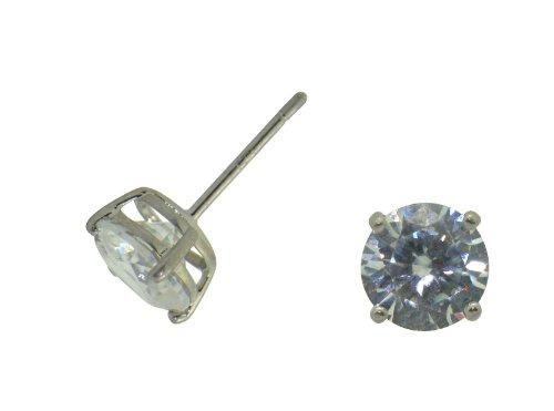 Sterling Silver 10MM Cubic Zirconia Stud Earrings