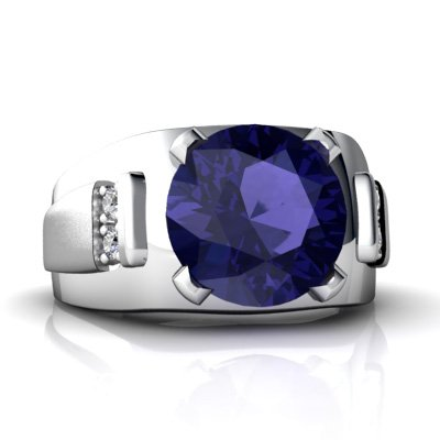 14Kt White Gold Lab Sapphire And Diamond Round Men'S Ring - Size 10.5