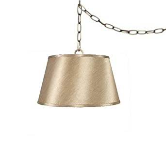 tan 19 swag lamp lighting fixture hanging plug in ceiling pendant. Black Bedroom Furniture Sets. Home Design Ideas