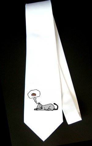 Necktie with sleeping cat dreaming of food