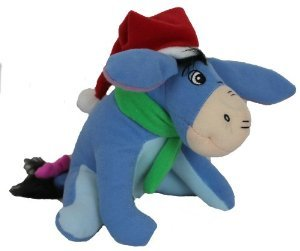"Winnie the Pooh ""Eeyore"" in Santa Hat 6"" Stuffed Plush Toy - 1"