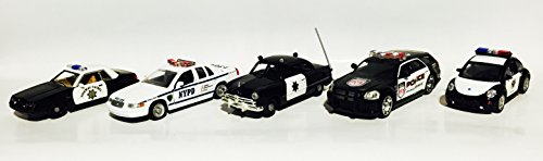 usa-police-set-of-5-metal-models-in-scale-143-comes-with-amercom-magazine-ford-mustang-california-hi