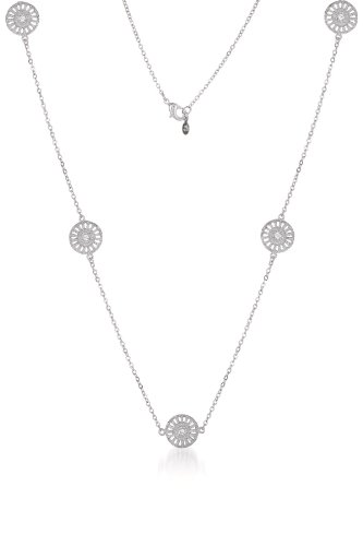 925 Sterling Silver Rhodium Plated 16 Inch Necklace with 5 Circles Filigree Lace Design CZ Accent - Incl. ClassicDiamondHouse Free Gift Box & Cleaning Cloth