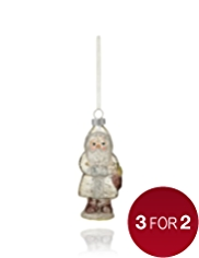 Hand-Painted Glass Santa Christmas Tree Decoration