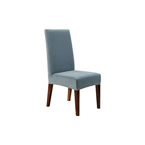blue dining room chair covers | Sure Fit Stretch Pinstripe - Shorty Dining Room Chair ...